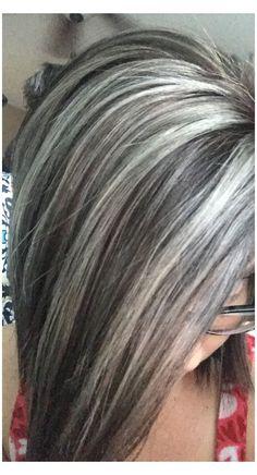Hair Highlights And Lowlights, Hair Color Highlights, Highlights For Greying Hair, Ash Brown Hair Color, Cool Hair Color, Hair Color Gray Silver, Silver Ombre, Gray Hair Colors, Silver Hair Styles