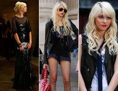 Jenny evolui no estilo: seu lado dark aparece em longos pretos com efeito molhado, meia arrastão, jaqueta de couro e batom escuro (até para ir à escola!).