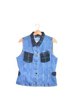 Denim Vest Jean Vest Blue Denim Vest 90s Denim by founditinatlanta