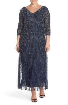 PISARRO NIGHTS BEADED V-NECK ILLUSION SLATE GRAY GOWN-NWTS-$198-PETITE 16…
