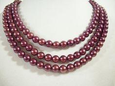 Wine Red 3 Strand Beads Choker Necklace Maroon Burgandy Jewel Tone Vintage  #VintageNecklaces #Necklaces