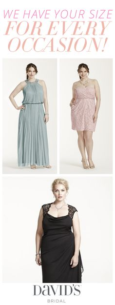 Plus size dresses from David's Bridal that fit and flatter every figure for every occasion.