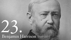 """Benjamin Harrison was born on August 20, 1833.  Nominated for President on the eighth ballot at the 1888 Republican Convention, Benjamin Harrison conducted one of the first """"front-porch"""" campaigns, delivering short speeches to delegations that visited him in Indianapolis. As he was only 5 feet, 6 inches tall, Democrats called him """"Little Ben""""; Republicans replied that he was big enough to wear the hat of his grandfather, """"Old Tippecanoe."""""""