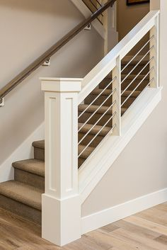 Newel Post and railings. Wires instead of balusters is probably too modern.