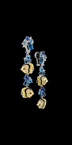 Master Exclusive Jewellery Ocean Secrets yellow and white gold 750, diamonds, black and yellow diamonds, blue sapphires, topaz, London Blue topaz, enamel