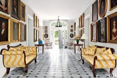 At Obercreek, the Hudson River Valley farm of investor Alex Reese and his wife, architect Alison Spear, the stone-floored entrance hall is lined with family portraits, hung frame to frame on the pale gray walls. Heirloom Windsor chairs flank the front door, and the 19th-century settees are upholstered in a flame stitch by Scalamandré.