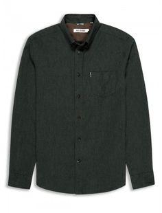 Brushed marl plain long sleeve shirt | Green Charcoal | Ben Sherman