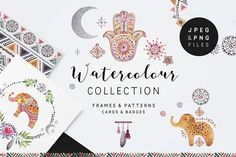Peace&Love (watercolour collection) by SoNice on @creativemarket
