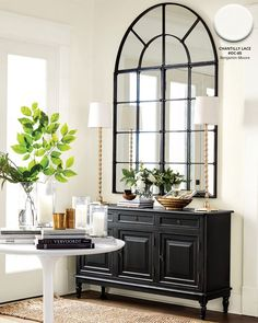 Entryway with black console table, white pedestal table, and neutral accents What's Decoration? Decoration is the art of decorating the … Entryway Console Table, Entryway Decor, Console Tables, Console Table With Mirror, Console Table Styling, Hall Tables, Apartment Entryway, Entryway Organization, Entry Foyer