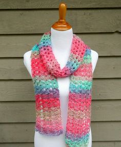 The Island Lace Scarf is colorful, airy, and lacy…like a fresh tropical breeze! Using super easy stitches, it works up in no time at all too. Perfect on a day if you need just a little something or some fabulous color to brighten your day! Crochet Scarves, Crochet Shawl, Crochet Clothes, Crochet Lace, Crochet Stitches, Crochet Hooks, Crochet Summer, Crocheted Scarf, Crotchet