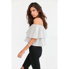 Kimchi Blue Raquel Ruffle Stripe Off-The-Shoulder Blouse ($54) ❤ liked on Polyvore featuring tops, blouses, pink, off shoulder tops, white off shoulder blouse, stripe blouse, white ruffle top and white frilly blouse