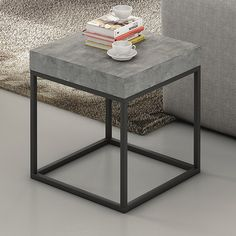 This Petra side table successfully combines a concrete finish with a simple black metal structural base. Suiting either a contemporary or industrial interior, it sits perfectly with the matching coffee table; or alternatively as a bedside table. Grey Side Table, Side Coffee Table, Metal Side Table, Raw Furniture, Concrete Furniture, Furniture Design, Side Tables Bedroom, End Tables, Side Table Styling