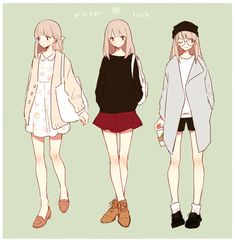 Tiny butt-fruit manga in 2019 anime, drawing clothes, anime Anime Outfits, Girl Outfits, Casual Outfits, Spring Outfits, Winter Outfits, Manga Clothes, Drawing Clothes, Character Outfits, Character Art