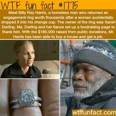 Homeless man returns a diamond ring - WTF fun facts