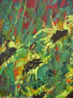 Artwork >> Arturo Arboleda Restrepo >> #sunflowers and #red #artwork, #oil, #painting, #masterpiece, #contemporary, #beauty, #extraordinary