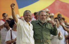 "historicaltimes: "" Nelson Mandela giving a speech with Fidel Castro, "" Fidel Castro, Nelson Mandela, Margaret Thatcher, Spice Girls, Visit Cuba, New Africa, Africa News, South Africa, Epic Photos"