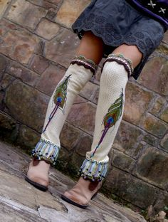 bohemian PEACOCK feather LEG WARMERS