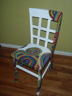 Hand Painted Swirl Spiral Rainbow Chair by StuffByJenB on Etsy, $195.00