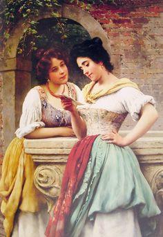 Eugene de Blaas Paintings-Shared Correspondance, 1899