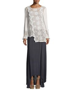 e8181a9b25f94 Long-Sleeve Embroidered Lace Asymmetric Top