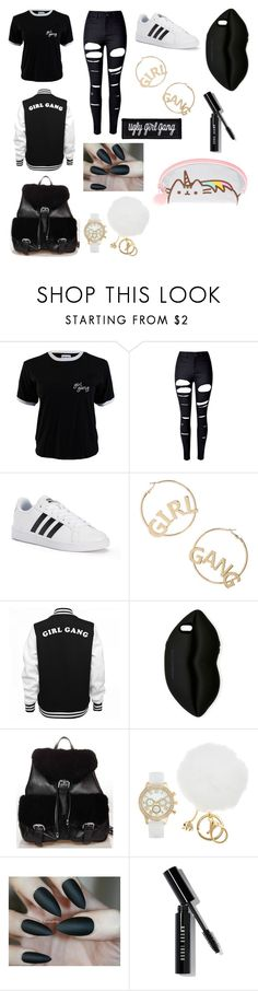 """""""Ugly girl gang"""" by brielleespinal ❤ liked on Polyvore featuring WithChic, adidas, BP., STELLA McCARTNEY, FRR, Bobbi Brown Cosmetics and Pusheen"""
