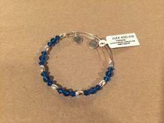 New Alex & Ani Swarovski Blue Beaded Bangle - Silver Finish - http://designerjewelrygalleria.com/alex-ani/new-alex-ani-swarovski-blue-beaded-bangle-silver-finish/