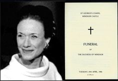 Funeral card for Duchess of Windsor...Although Totally Estranged From Her Aunt By Marriage, In The End, Queen Elizabeth, Classy Always, Honored Wallis As A Royal...To A Point Allowed By British Protocol...