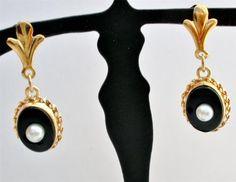 Antique 14k Yellow Gold Black Onyx Fleur de Lis Diamond Dangle Pierced Earrings | eBay