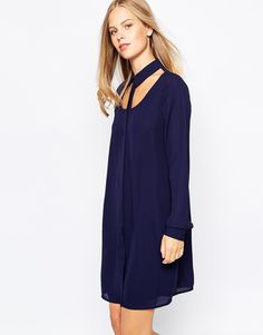 Image 1 ofLost Ink Cut Out Shirt Dress with Collar