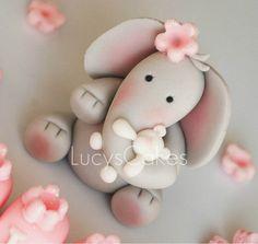 elephant christening birthday cake topper holding teddy | Flickr - Photo Sharing!