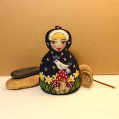 Matryoshka  Hand Embroidered Eco Felt  with by TheSnowQueensGarden, $25.00