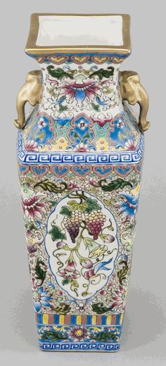 Asian Decor: Hand-Painted Porcelain Temple Vase from Jingdezhen, China