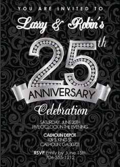 Diamond Anniversary Invitation featuring a classic black and silver design for inviting your special guests to your celebration. 50th Anniversary Invitations, 25 Year Anniversary Gift, Anniversary Decorations, 25th Wedding Anniversary, Silver Anniversary, Anniversary Parties, Anniversary Ideas, Parents Anniversary, Marriage Anniversary
