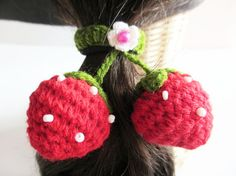 Strawberry Crochet Hair Ties Elastic hair ties fish by Accessinity