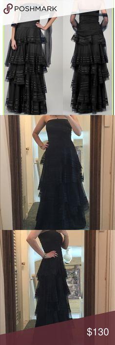 Tadashi Shoji Tulle Ruffle Tiered Strapless Gown Black strapless gown. Worn once. In excellent condition! Tadashi Shoji Dresses Strapless