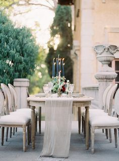 Elegant Outdoor Tablescape | Photography: Kurt Boomer Photo - www.kurtboomer.com  Read More: http://www.stylemepretty.com/2015/01/29/moody-romantic-outdoor-wedding-inspiration/