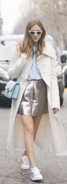 Milan Fashion Week street style: Chiara Ferragni in a metallic skirt and furry coat and blue celine bag