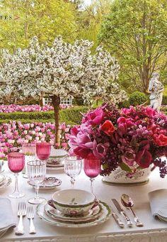 ~Carolyne Roehm's garden & her veranda set for a party in spring-so beautiful! <3