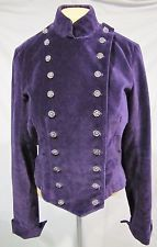 LUCKY BRAND JACKET PURPLE CRUSHED VELVET DOUBLE BREASTED BAND MILITARY SZ M