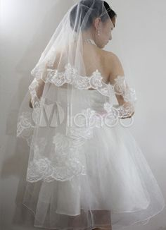 Beautiful Ivory Parchment Yarn Embroidered Wedding Bridal Veil - m.milanoo.com