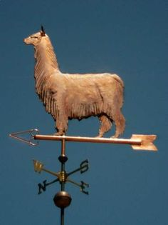 Suri Alpaca Weather Vane by West Coast Weather Vanes. This handcrafted custom made Suri Alpaca weahervane can be made using a variety of metals.