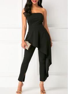 Black Strapless High Waist Ruffle Overlay Jumpsuit | Rosewe.com - USD $37.12