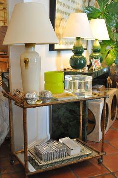 Bar Cart #vignette with vintage #French #acrylic #ice #bucket at #PalmBeach #Mecox #interiordesign #MecoxGardens #furniture #shopping #home #decor #design #room #designidea #antiques #garden