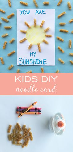 "This craft makes us happy even when skies are gray. ☀️ All you need to brighten your kids' day are some crayons, a few noodles, and a bit of glue. This ""You Are My Sunshine"" noodle card is surely the cutest kids DIY!"