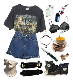"""listen to iron maiden baby with me"" by toofabuforyou ❤ liked on Polyvore featuring Brandy Melville and Converse"