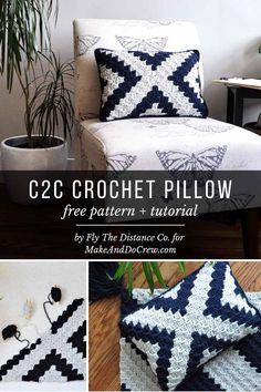Free corner to corner crochet pillow pattern that\'ll add modern black and white style to any room. Tutorial, graph and written pattern included! pillow free patterns Modern, Boho Corner to Corner Crochet Pillow - Free Pattern + Tutorial! Crochet Cushion Cover, Crochet Cushions, Crochet Pillow Covers, Crochet Pillow Patterns Free, Free Pattern, Afghan Patterns, Square Patterns, Modern Crochet Patterns, Crochet C2c