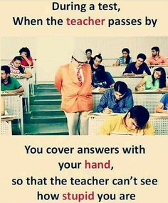 Teacher and Student Funny Jokes { images } will keep you entertained and may be bring back memories about the funny times you had when in school. teacher and student funny jokes in english, teacher student jokes, teacher vs student funny images Exams Funny, Funny School Memes, Crazy Funny Memes, Really Funny Memes, Funny Facts, Funny Quotes, Funny Humor, Life Quotes, Exams Memes