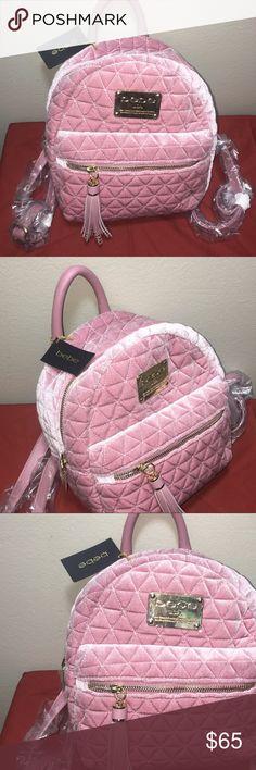 👛👛 BRAND NEW BÉBÉ BACKPACK 👛👛 Rose Gold/Power Pink  Gold Detail   Velvet feel  Removable straps   Brand New! bebe Bags Backpacks