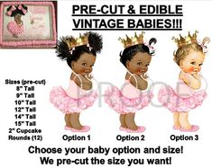 Baking Accs. & Cake Decorating Impartial Pre-cut White And Red Vintage Baby Edible Cake Topper Image Afro Puffs Ruffle