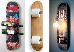 Cool interior collection made with unnecessary skateboard - Mein Haus - Skateboard Decor, Skateboard Furniture, Skateboard Design, Finger Skateboard, Upcycled Home Decor, Diy Home Decor, Ideias Diy, Decoration Originale, Bedroom Vintage